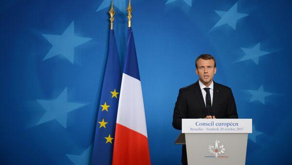 Президент Франции Эммануэль Макрон на пресс-конференции после заседания Совета Европы в Брюсселе. - Sputnik France