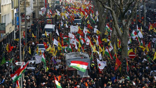 Pro-Kurdish people protest against the Turkish offensive in northwest Syria during a demonstration in Cologne, Germany, January 27, 2018 - Sputnik France
