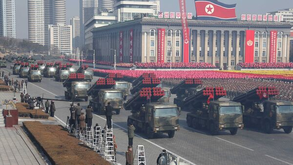 Military vehicles are seen at a grand military parade celebrating the 70th founding anniversary of the Korean People's Army at the Kim Il Sung Square in Pyongyang, in this photo released by North Korea's Korean Central News Agency (KCNA) February 9, 2018. - Sputnik France