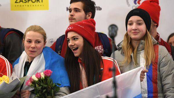 L'accueil des athlètes russes ayant participé aux JO à l'aéroport Cheremetievo de Moscou - Sputnik France
