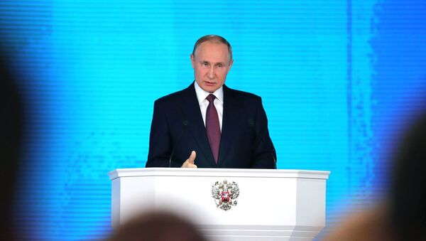 Russian President Vladimir Putin delivers his annual Presidential Address to the Federal Assembly at the Manezh Central Exhibition Hall - Sputnik France