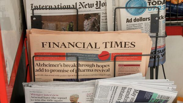 Copies of the Financial Times newspaper sit in a rack at a newsstand in London, Britain July 23, 2015 - Sputnik France
