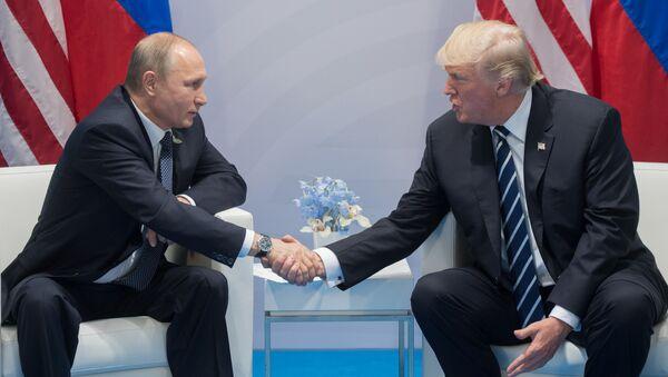 Президент РФ Владимир Путин и президент США Дональд Трамп во время беседы на полях саммита лидеров Группы двадцати G20 в Гамбурге - Sputnik France