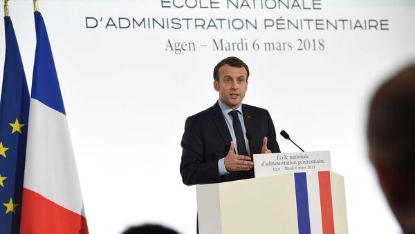 French President Emmanuel Macron speaks at the prison guard school (Ecole Nationale d'Administration Penitentiaire - ENAP) during a visit in Agen, France, March 6, 2018. - Sputnik France