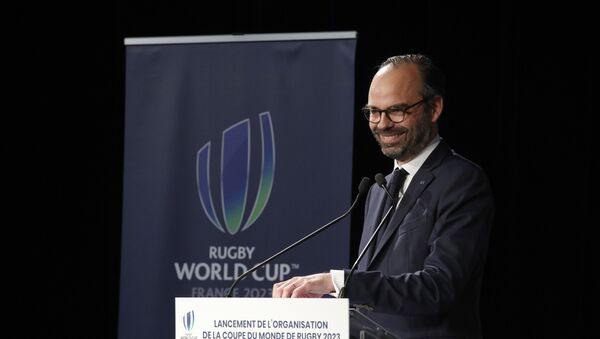 French Prime Minister Edouard Philippe kicks off France's plans to host the 2023 Rugby World Cup, by signing the founding charter of the public body that will organize the championship, at the Stade de France stadium in St Denis, north of Paris, Saturday, March 10, 2018. - Sputnik France