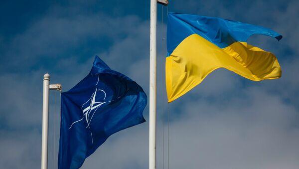 Drapeau national de l'Ukraine et le drapeau de l'OTAN. - Sputnik France