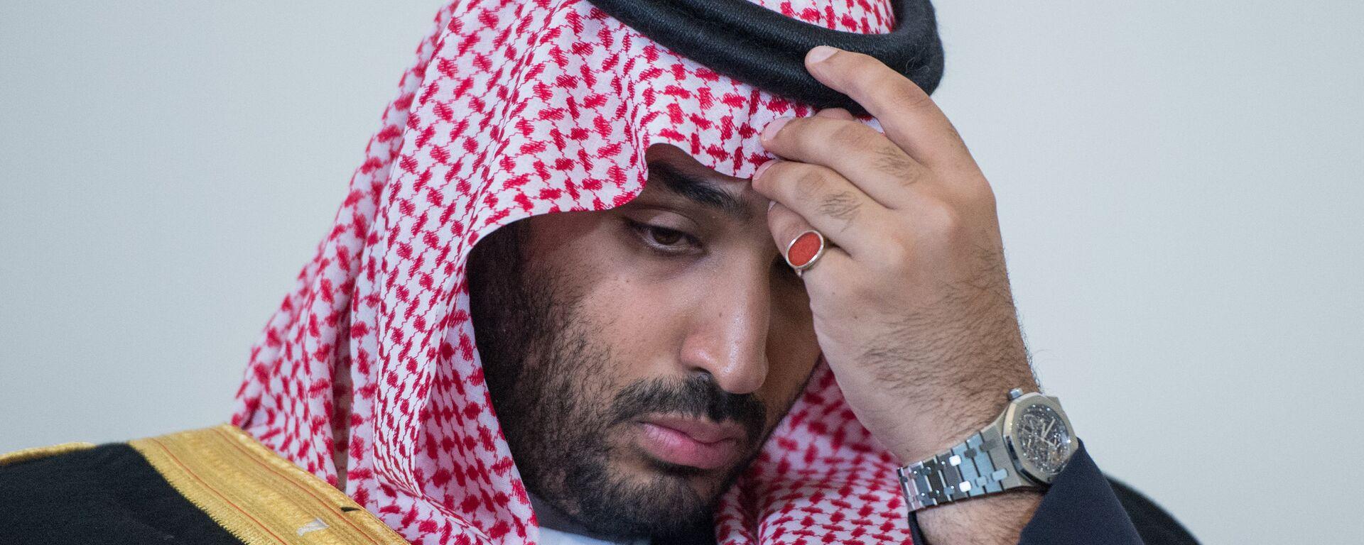 Le 18 juin 2015. Le successeur du prince héritier en Arabie Saoudite, le ministre de la défense Mohammed bin Salman, avant sa rencontre avec le président russe Vladimir Poutine à Saint-Pétersbourg. - Sputnik France, 1920, 09.02.2021