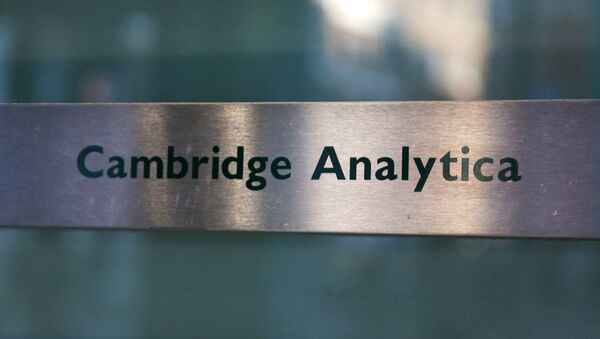 A Cambridge Analytica sign is pictured at the entrance of the building which houses the offices of Cambridge Analytica, in central London - Sputnik France