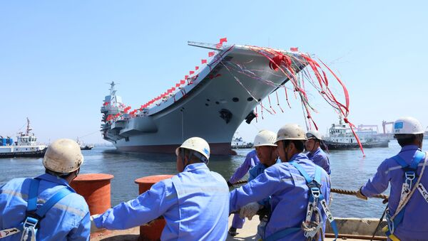China's first domestically built aircraft carrier is seen during its launching ceremony in Dalian, China April 26, 2017 - Sputnik France
