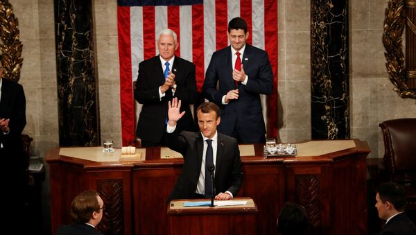 French President Emmanuel Macron acknowledges applause after addressing a joint meeting of Congress in the House chamber of the U.S. Capitol in Washington, U.S., April 25, 2018. - Sputnik France