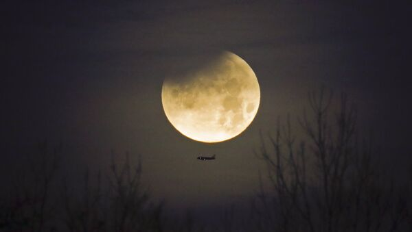 A plane passes by as the moon sets over trees during a phenomena that combined a supermoon, a blue moon and a lunar eclipse in Charlotte, N.C., Wednesday, Jan. 31, 2018 - Sputnik France