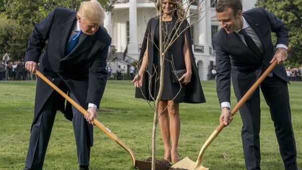 Melania Trump, Donald Trump  et Emmanuel Macron  - Sputnik France