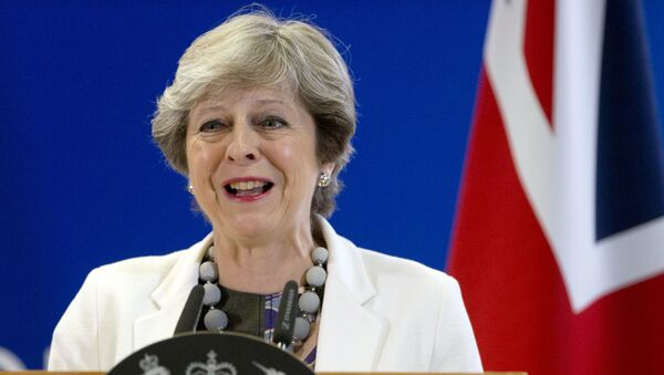 British Prime Minister Theresa May Theresa May speaks during a media conference at an EU summit in Brussels on Friday, Oct. 20, 2017. - Sputnik France