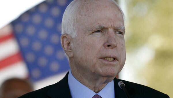 In this May 30, 2016, photo, Sen. John McCain, R-Ariz, speaks during a Phoenix Memorial Day Ceremony at the National Memorial Cemetery of Arizona in Phoenix. - Sputnik France