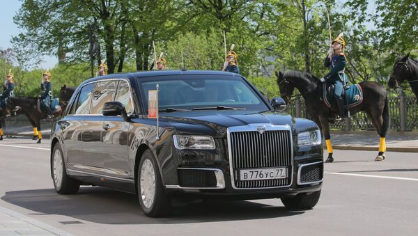 Aurus limousine of the President of the Russian Federation motorcade, part of the Cortege project - Sputnik France