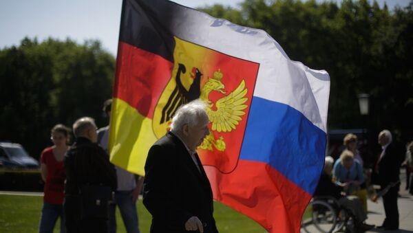 Eine Kombination aus deutscher und russischer Flagge, Berlin - Sputnik France