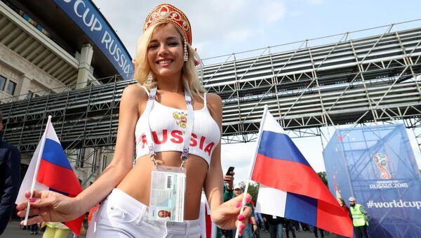 Болельщики перед матчем открытия ЧМ-2018 по футболу между сборными России и Саудовской Аравии - Sputnik France