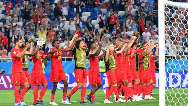 Les joueurs de la sélection belge fêtent leur victoire en Coupe du Monde face à l'Angleterre - Sputnik France