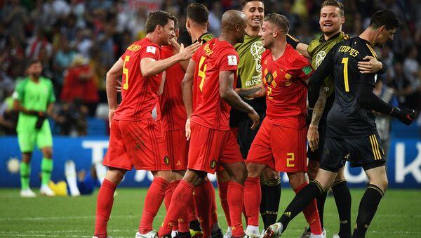 Les Belges après leur victoire sur le Brésil en quarts du Mondial 2018 - Sputnik France
