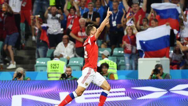 Denis Cheryshev après le premier but du match Russie-Croatie - Sputnik France