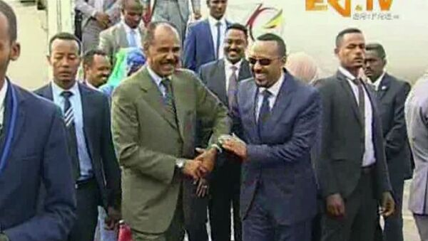 Le Président érythréen, Isaias Afeworki, et le Premier ministre éthiopien, Abiy Ahmed Ali le 8 juillet à Asmara - Sputnik France