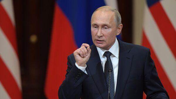 Vladimir Poutine lors d'une conférence de presse conjointe avec Donald Trump à Helsinki - Sputnik France