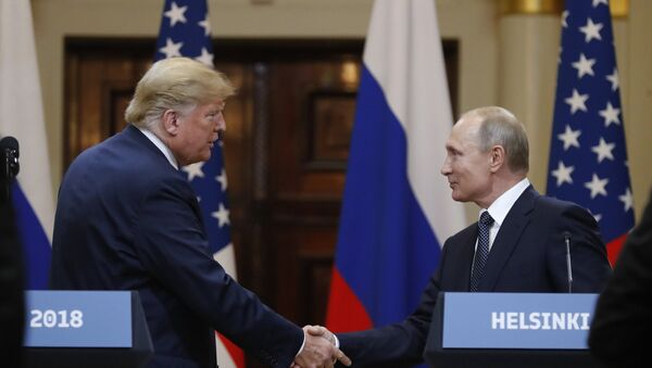 July 16, 2018. President of Russia Vladimir Putin and President of the US Donald Trump, left, during the joint news conference following their meeting in Helsinki - Sputnik France