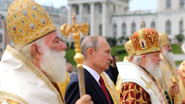 Президент РФ В. Путин принимает участие в торжественных мероприятиях по случаю 1030-летия Крещения Руси - Sputnik France