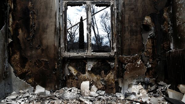 The interior of a burnt house is seen following a wildfire in the village of Mati, near Athens - Sputnik France