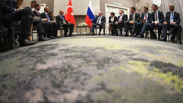 Russlands Präsident Wladimir Putin (r. in d. M.) und Präsident der Türkei Recep Tayyip Erdogan beim BRICS-Gipfel am 26. Juli 2018 - Sputnik France