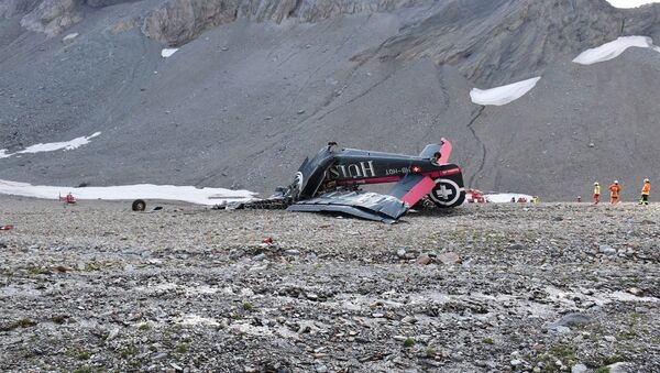 A general view of the accident site of a Junkers Ju-52 airplane of the local airline JU-AIR, which crashed at 2,450 meters (8,038 feet) above sea level near the mountain resort of Flims, Switzerland August 5, 2018. - Sputnik France