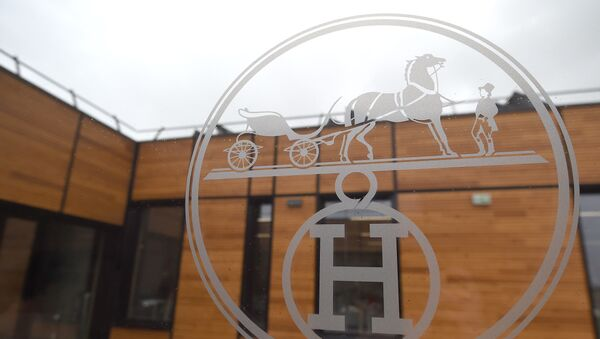 The new Hermes (La Manufacture de l'Allan Hermès) logo is pictured in the new leather goods workshop of French high fashion luxury goods manufacturer Hermes (La Manufacture de l'Allan Hermès), on the eve of its inauguration day, on April 5, 2018 in Allenjoie, northeastern France. - Sputnik France
