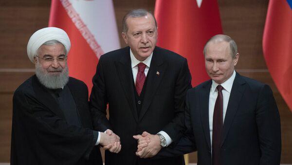 Hassan Rohani, Recep Tayyip Erdogan et Vladimir Poutine - Sputnik France