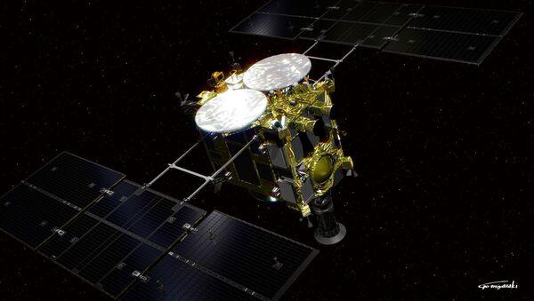 Vue d'artiste de la sonde spatiale japonaise Hayabusa 2, suite de la mission Hayabusa et dont l'objectif est de ramener un échantillon du sol de l'astéroide (162173) 1999 JU3. Le lancement est prévu fin 2014. - Sputnik France
