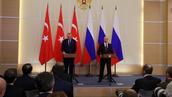 Президент РФ В. Путин встретился с президентом Турции Р. Т. Эрдоганом - Sputnik France