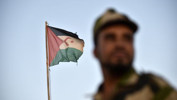 Uniformed soldiers of the pro-independence Polisario Front stand before a Sahrawi flag flying at the Boujdour refugee camp near the town of Tindouf in Western Algeria on October 17, 2017. - Sputnik France