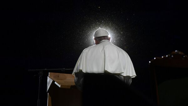 Pope Francis speaks during a meeting at the Malmo Arena in Malmo, Sweden, October 31, 2016 - Sputnik France