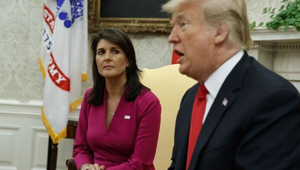 President Donald Trump speaks during a meeting with outgoing U.S. Ambassador to the United Nations Nikki Haley in the Oval Office of the White House, Tuesday, Oct. 9, 2018, in Washington. - Sputnik France