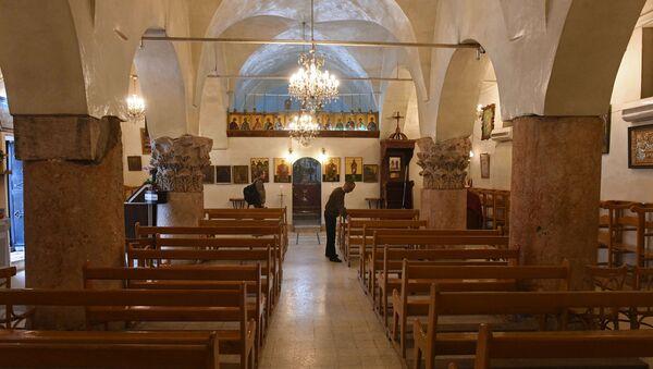 Церковь в христианском городе Мхарди на севере от города Хама, освобожденном сирийской армией от боевиков - Sputnik France