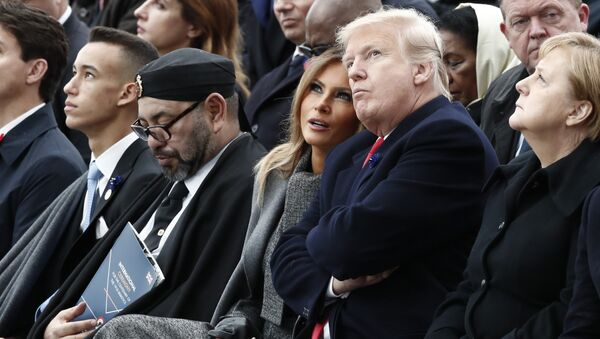 From L) Moroccan Crown Prince Hassan Moulay, Moroccan King Mohammed VI, US First Lady Melania Trump, US President Donald Trump and German Chancellor Angela Merkel attend a ceremony at the Arc de Triomphe in Paris on November 11, 2018 as part of commemorations marking the 100th anniversary of the 11 November 1918 armistice, ending World War I. - Sputnik France