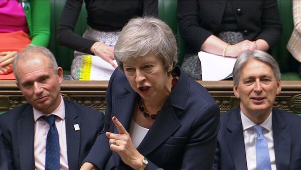A still image from a video footage shows Britain's Prime Minister Theresa May speaking during Prime Minister's Questions in the House of Commons, in central London, Britain November 14, 2018 - Sputnik France