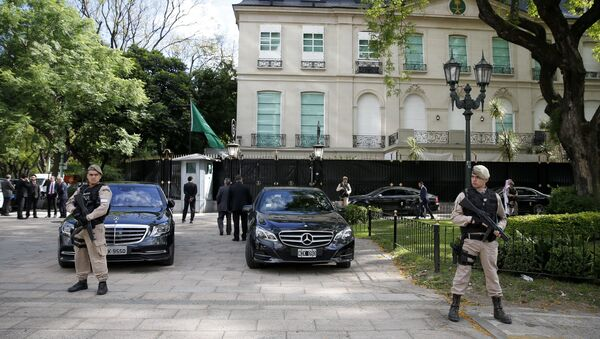Border police officers guards the entrance to the Saudi Embassy in Buenos Aires, Argentina, Wednesday, Nov. 28, 2018. - Sputnik France