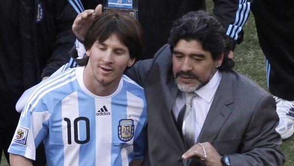 Lionel Messi et Diego Maradona lors du Mondial 2010 (archive photo) - Sputnik France