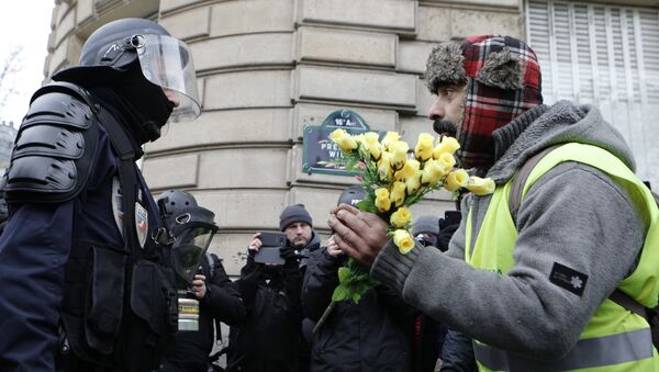 A demonstrator wearing his yellow vest holds a bouquet of roses in front of a riot police officer during a protest Saturday, Dec. 15, 2018 in Paris. - Sputnik France