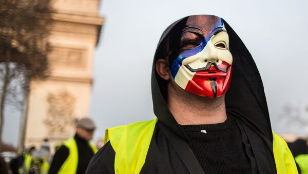 A protester takes part in a demonstration of the yellow vests movement in Paris, France. - Sputnik France