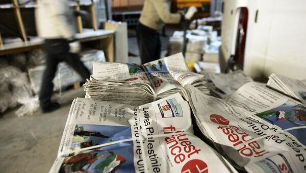 Photo prise le 27 janvier 2006 à Rennes des paquets de journaux Ouest-France pendant le tri de nuit avant d'être d'aiguillés vers la bonne destination - Sputnik France