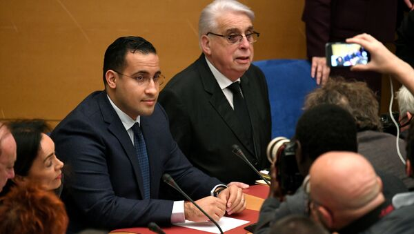Former Elysee senior security officer Alexandre Benalla (L), flanked by Senator and commisision speaker Jean-Pierre Sueur, appears before a Senate committee in Paris on January 21, 2019 - Sputnik France
