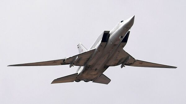 A Tupolev Tu-22M3 Backfire strategic bomber during a Victory Parade rehearsal at the Alabino training ground in the Moscow Region - Sputnik France