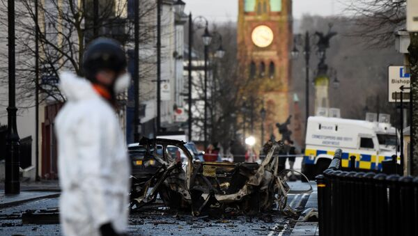 The scene of a suspected car bomb is seen in Londonderry, Northern Ireland January 20, 2019 - Sputnik France