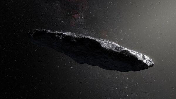 This artist's impression shows the first interstellar asteroid, `Oumuamua - Sputnik France